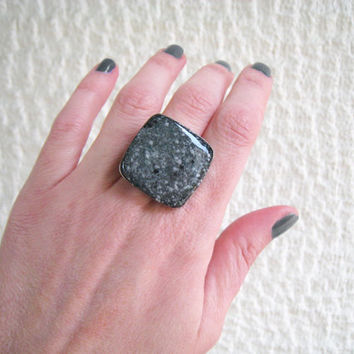 Faux granite black ring, grey stone marble imitation minimal big chunky silver adjustable simple modern greek summer jewelry goth sexy gift