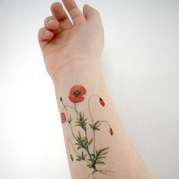 Temporary tattoo - Vintage Poppies, Red, Wildflower, Woodland