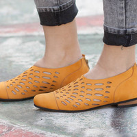 New! Leather Shoes, Leather Sandals, Women Sandals, Women Shoes, Summer Shoes, Yellow Shoes, Cutout Sandals, Free Shipping