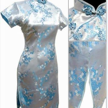 Black Floral Silk Short Cheongsam One-piece Chinese Qipao Dress