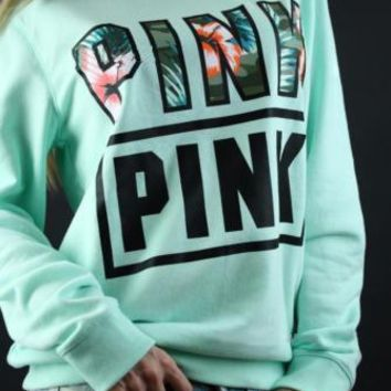 Pink Victoria's Secret Letter Print Long Sleeve Pullover Top Sweater