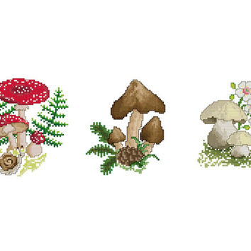 Mushrooms  -  Set of 3 Cross Stitch Patterns in PDF - INSTANT DOWNLOAD