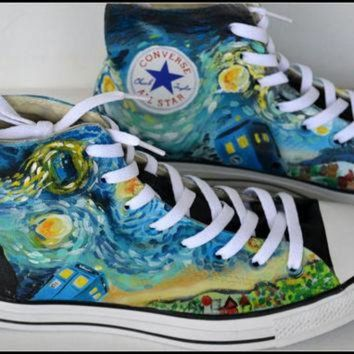 VONR3I Painted DOCTOR WHO Shoes, Custom Painted Mens Converse, Doctor Who Converse, Custom Sn