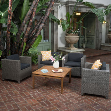 Portabella Outdoor 5 Pc Wicker Club Chair Set w/Wood Coffee Table