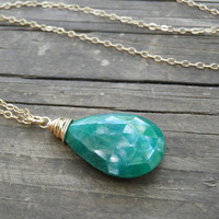 May Birthstone Emerald Necklace, Genuine Emerald Necklace, Rough Cut Emerald Necklace, May Birthday Gift, Gold Filled Necklace