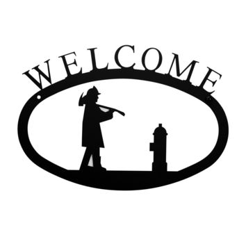 Wrought Iron Small Fireman Welcome Home Sign Small