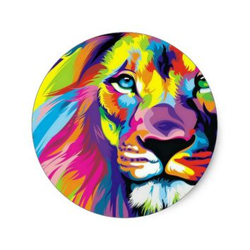 Colorful Lion Classic Round Sticker