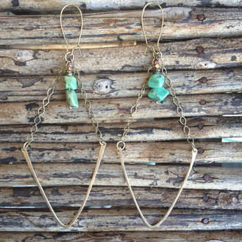 Long Turquoise Earrings, Turquoise Stone Earrings, Bohemian Style Earrings, Boho Fashion, Long Earrings, Long Dangly Earrings, Free People