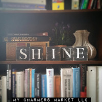 Shine Sign, Shine Art, Shine Tile Letters, Shine Wall Decor, Wooden Letter Blocks, Wood Letter Tiles, Shabby Chic Shine Sign Set, Gift Idea
