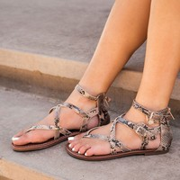 Lori Snakeskin Strappy Sandals