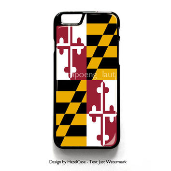 Maryland Flag for iPhone 4 4S 5 5S 5C 6 6 Plus , iPod Touch 4 5  , Samsung Galaxy S3 S4 S5 Note 3 Note 4 , and HTC One X M7 M8 Case Cover