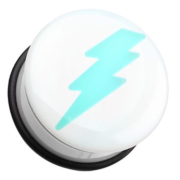Glow in the Dark Lightning Bolt Single Flared Ear Gauge Plug