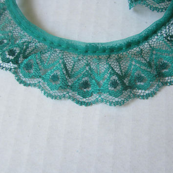 Over 3 yds Dark Green Ruffled Gathered Trim , Green Scalloped Lace Edging , Decorative Lace Trim