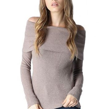 CAROLINE OFF THE SHOULDER SWEATER TOP - OATMEAL