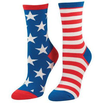 Socksmith American Flag Stars & Stripes Women's Crew Socks - Blue