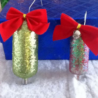 Glittery Radio Tube Christmas Ornaments with chartreuse glitter and red & green Glass TV Vacuum Tube Retro Xmas Tree Decoration Holiday