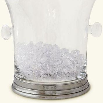Match Pewter Crystal Ice Bucket with Handles