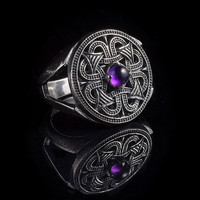Northern Sun Slavic Ring, sterling silver and amethyst, size US 7.25 / 17.5 mm (customizable), handmade