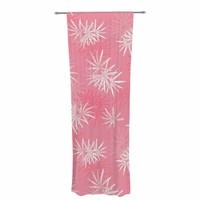 """Julia Grifol """"Paradise Flowers"""" Pink White Vector Decorative Sheer Curtain"""