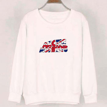 arctic monkeys logo sweater White Sweatshirt Crewneck Men or Women for Unisex Size with variant colour