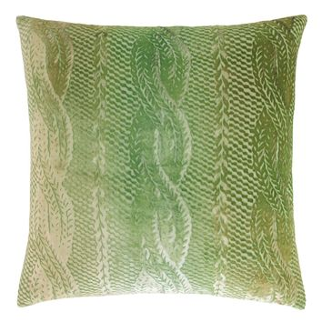 Grass Cable Knit Velvet Pillows by Kevin O'Brien Studio