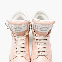 BLUSH PINK LEATHER CUTE KICKS HIGH-TOP SNEAKERS