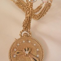 Rare gorgeous Faux watch shaped bee rhinestone Locket Crystal glass triple link Chain
