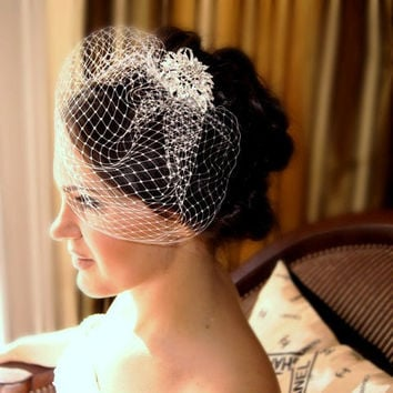 Crystal Head Piece and  White or Ivory Birdcage Veil Bridal Accessory Wedding Special Occasion Hair Accessories