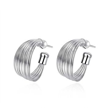 18K White Gold Plated Wire Layering Hoop Earring