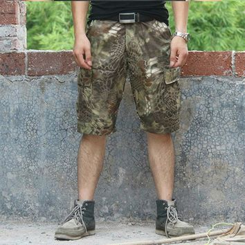 Tactical Cargo shorts Camouflage ripstop shorts Outdoors Army Clothes Multi Pockets Men's Military Snake style shorts