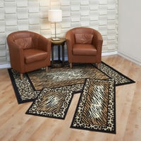 "Maya Collection 3 Pc Area Rug Set Size: 5'x7' Rug, 22""x59"" Runner, 22""x31"" Mat - Leopard and Tiger"