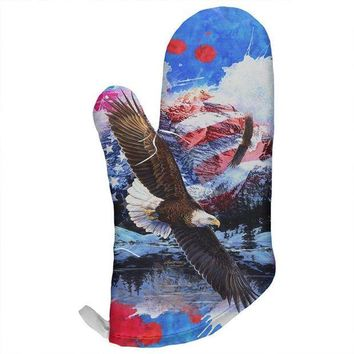 CREYCY8 4th of July American Flag Bald Eagle Splatter All Over Oven Mitt