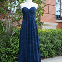 Navy Blue Sweetheart Lace Wedding Bridesmaids Dress Floor Length Prom Dress