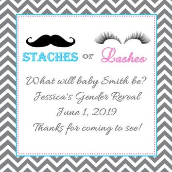 Stache or Lash Gender Reveal Baby Shower Favor Tags