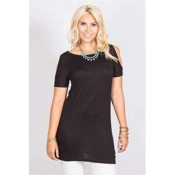 Open Shoulder Tunic - Black - M