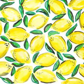Lemon Leaves Watercolor Painting