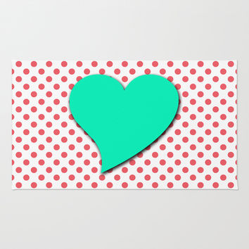 Coral Pink Polka Dots With Sea-Foam Green Heart Area & Throw Rug by Inspired By Fashion