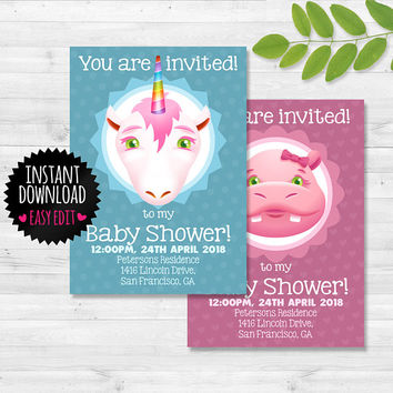 Animal Birthday Invite Download / Animal Birthday Set / Baby Shower Invite Download / Baby Shower Set / Personalized Birthday Invite
