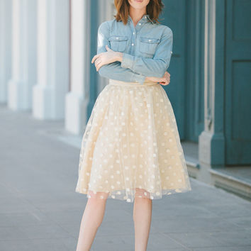 The Spring Dots - Cream Tulle Skirt | Space 46