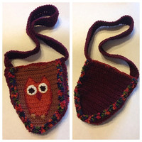 Hand Crocheted One Of A Kind Owl Purse in Brown, Orange, and Red