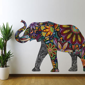 Colorful Floral Elephant Wall Sticker Decal