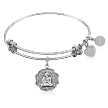 Expandable Bangle in White Tone Brass with Gautama Buddha Symbol