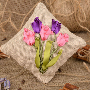 Handmade decorative fabric sachet pillow with satin ribbon embroidery for decor