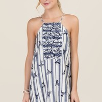 Dalia Embroidered Shift Dress