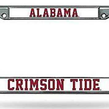 Alabama Crimson Tide ND Chrome Metal License Plate Tag Frame Cover University of