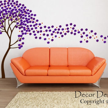 Flower Tree Wall Decal -by Decor Designs Decals, Tree in the Wind Wall Decal- Flower Tree Decal Nursery Kids Children Wall Decal - Blowing Flowers - Nursery Trees