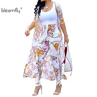Summer 2 Piece Set Women Cardigan Long Trench Tops And Bodycon Pant Suit Casual Clothes Boho Sexy Two Piece Outfits 2018