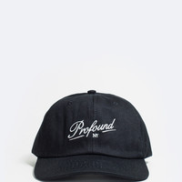 Profound NY Script Six Panel Hat in Black