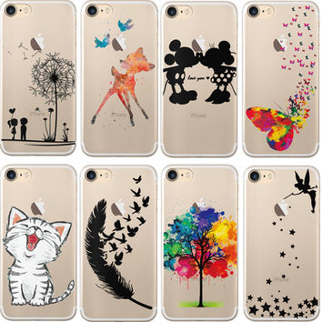 "Cute Cat Mickey & Minnie Mouse Kiss For iphone 7 Case 4.7"" Soft TPU Silicone Case for iPhone 7 Plus 7plus Case 5.5"" Phone Cover"