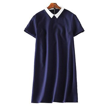 Women cute Peter Pan Collar office brief Dress vintage Vestido feminina casual street wear straight dress QZ2220